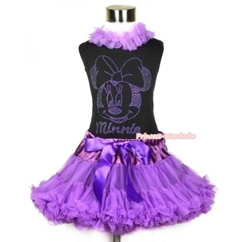 Black Tank Top With Dark Purple Chiffon Lacing With Sparkle Crystal Glitter Dark Purple Minnie Print with Dark Purple Pettiskirt MW223