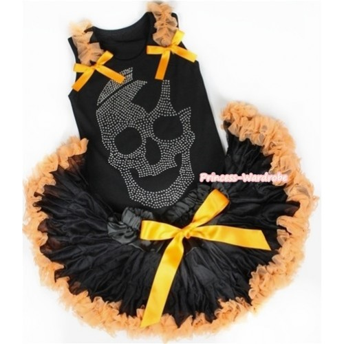 Black Baby Pettitop with Sparkle Crystal Glitter Skeleton Print with Orange Ruffles & Orange Bow with Black Orange Newborn Pettiskirt NG1174