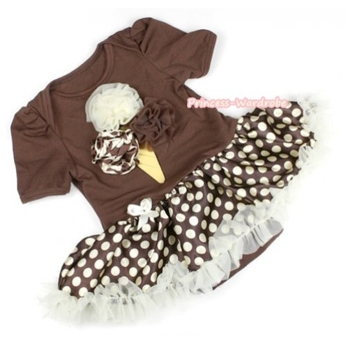 Brown Baby Jumpsuit Brown Golden Polka Dots Pettiskirt with Cream White Giraffe Brown Rosettes Ice Cream Print JS1075