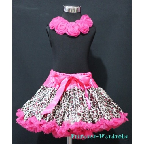 Black Tank Tops & Hot Pink Rosettes With Hot Pink Leopard Print Pettiskirt M181