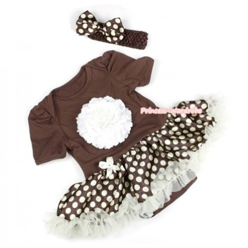 Brown Baby Jumpsuit Brown Golden Polka Dots Pettiskirt With White Peony With Brown Headband Brown Golde Polka Dots Satin Bow JS1085
