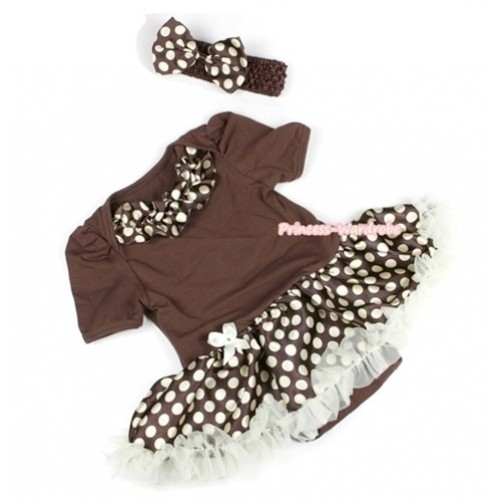 Brown Baby Jumpsuit Brown Golden Polka Dots Pettiskirt With Brown Golden Polka Dots Satin Lacing With Brown Headband Brown Golden Polka Dots Satin Bow JS577