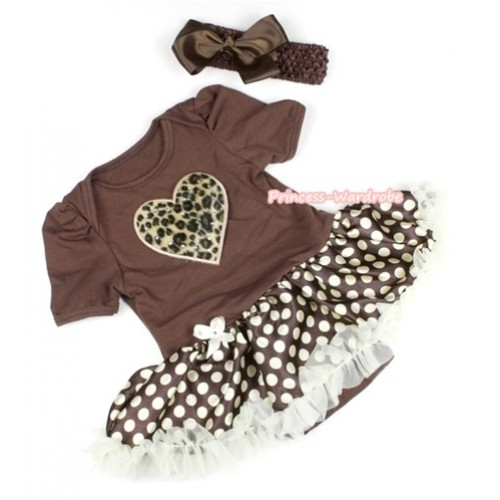 Brown Baby Jumpsuit Brown Golden Polka Dots Pettiskirt With Leopard Heart Print With Brown Headband Brown Silk Bow JS1100