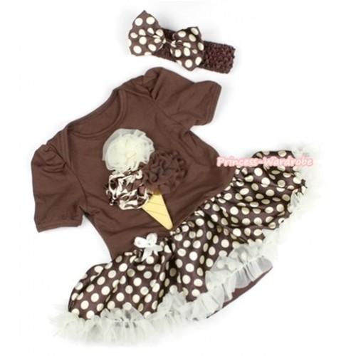 Brown Baby Jumpsuit Brown Golden Polka Dots Pettiskirt With Giraffe Cream White Brown Rosettes Ice Cream Print With Brown Headband Brown Golden Polka Dots Satin Bow JS1107
