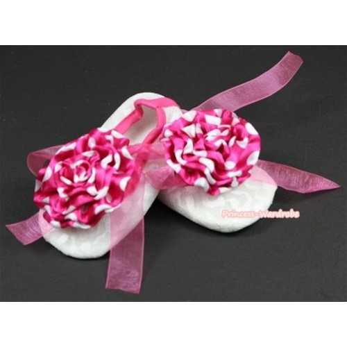 White Lace Crib Shoes With Hot Pink Ribbon With Dark Hot Pink White Dots Rose S544