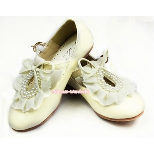 Ivory Cream White Pearl Ruffles Bow Flower Round Toe Flat Shoes E66-146Beige