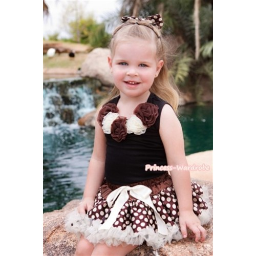 Black Tank Tops With Brown Cream White Rosettes With Brown Golden Polka Dots Pettiskirt MW224