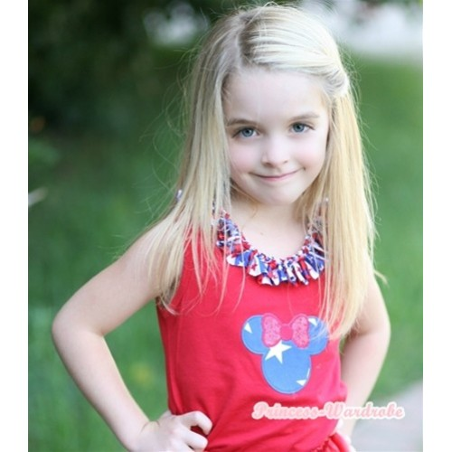 Red Tank Tops with Patriotic American Minnie Print with Red White Blue Striped Stars Satin Lacing T437