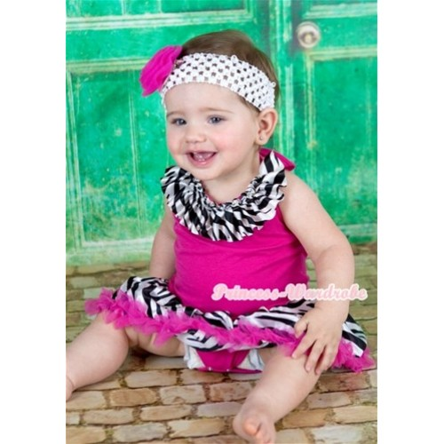 Hot Pink Baby Halter Jumpsuit Hot Pink Zebra Pettiskirt With Zebra Satin Lacing With White Headband Hot Pink Rose JS1113