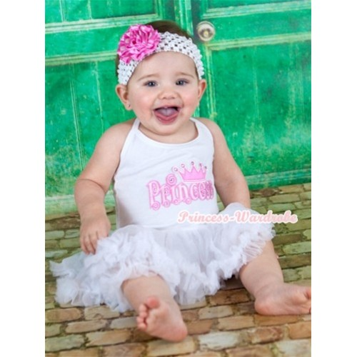 White Baby Halter Jumpsuit White Pettiskirt With Princess Print With White Headband Hot Pink White Dots Rose JS1114