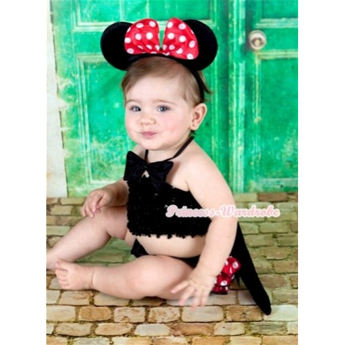 Black Bow Minnie Polka Dots Bloomer,Black Crochet Tube Top,Minnie Ear Headband,Tie,Tail 3PC Set CT573