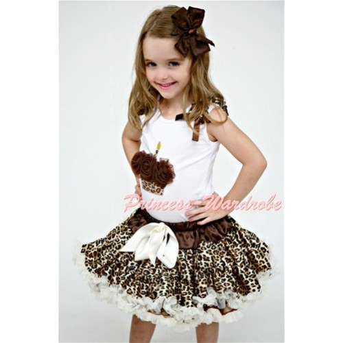 Cream White Leopard Pettiskirt With Brown Rosettes Leopard Birthday Cake White Tank Top with Leopard Ruffles&Brown Bow MD20