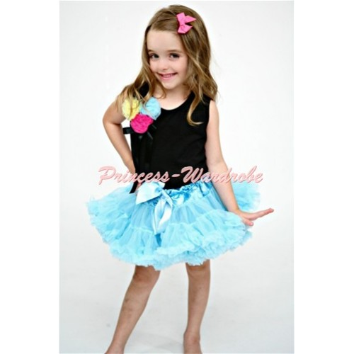 Light Blue Pettiskirt with Bunch of Black Yellow Hot Pink Light Blue Rosettes Black Tank Top with Black Bow MW80