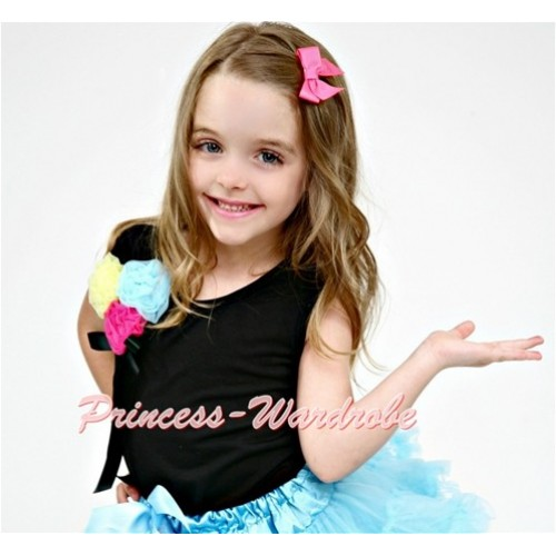 Black Tank Top with Bunch of Black Yellow Hot Pink Light Blue Rosettes and Black Bow TB190