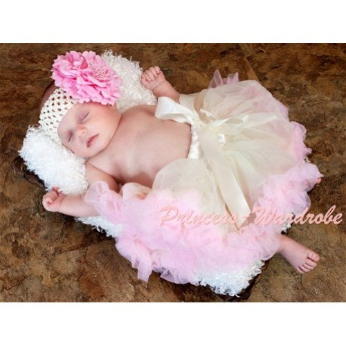 Cream White Light Pink New Born Pettiskirt N79
