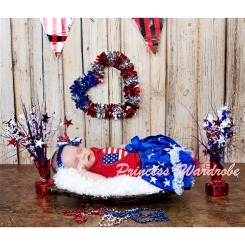 Red Baby Pettitop & Patriotic America Flag Sweet Heart & Royal Blue Waist Patriotic America Star Baby Pettiskirt NT131