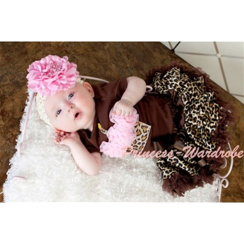 Brown Jumpsuit & Leopard Birthday Cake & Light Pink Rosettes with Brown Gold Leopard Baby Pettiskirt JN02