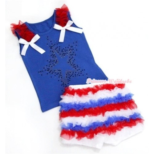 Royal Blue Tank Top With Red Ruffles & White Bow & Sparkle Crystal Glitter Star Print With Red White Royal Blue Ruffles Pettishort P004