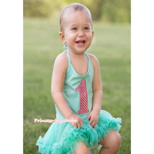 Aqua Blue Baby Halter Jumpsuit Aqua Blue Pettiskirt With 1st Sparkle Light Pink Birthday Number Print JS980