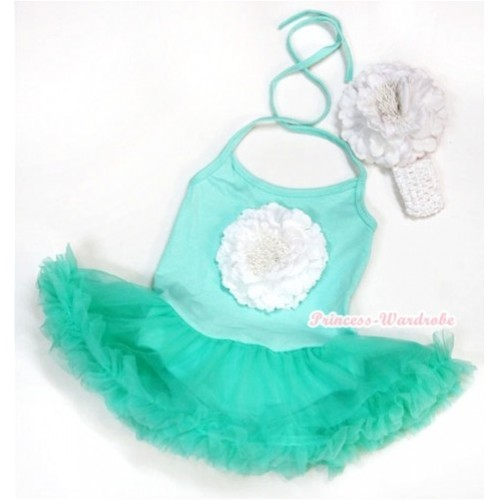 Aqua Blue Baby Halter Jumpsuit Aqua Blue Pettiskirt With White Peony With White Headband White Peony JS995