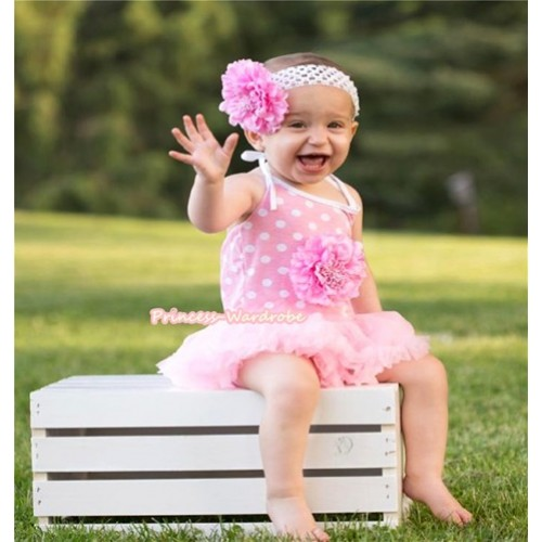 Light Pink White Dots Baby Halter Jumpsuit Light Pink Pettiskirt With Light Pink Peony With White Headband Light Pink Peony JS994