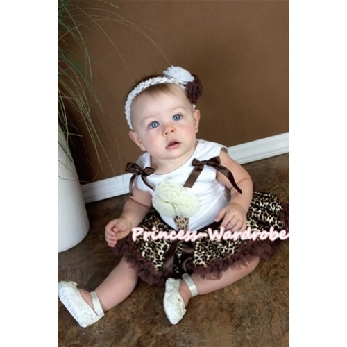 White Baby Pettitop & Cream White Rosettes Leopard Ice Cream & Brown Bows With Brown Gold Leopard Baby Pettiskirt NS02