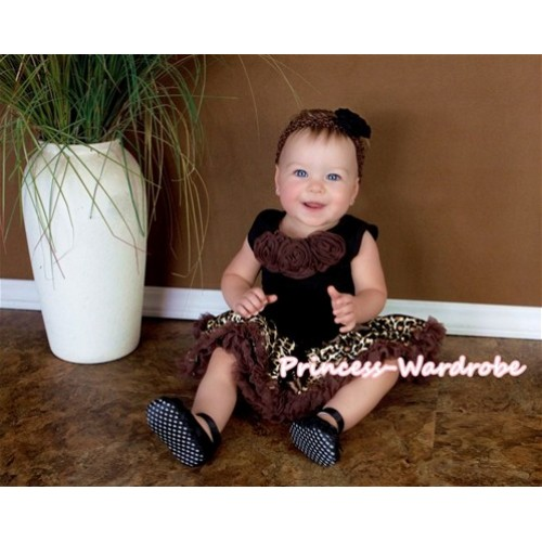 Black Newborn Pettitop & Brown Rosettes with Brown Gold Leopard Newborn Pettiskirt NG405