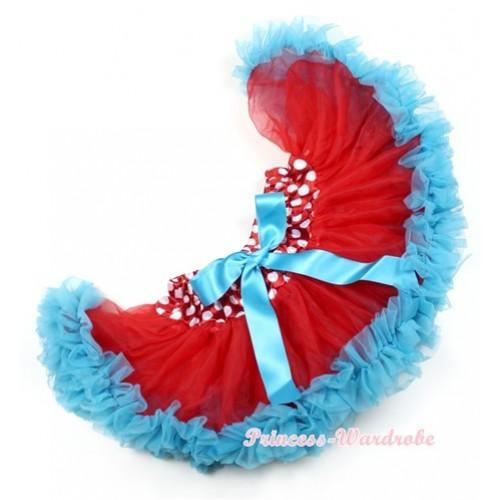 Minnie Polka Dots Waist Peacock Blue Newborn Pettiskirt N128