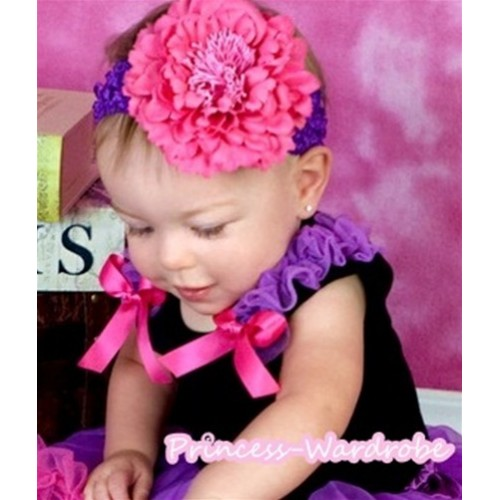 Black Tank Top with Hot Pink Ribbon and Dark Purple Ruffles NT301