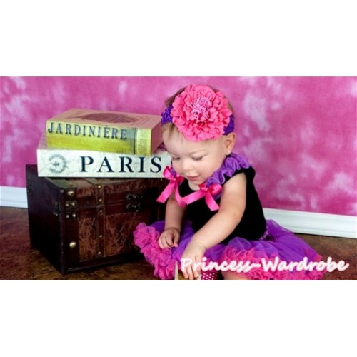Black Baby Pettitop & Dark Purple Ruffles & Hot Pink Bow with Purple Hot Pink Baby Pettiskirt NG521