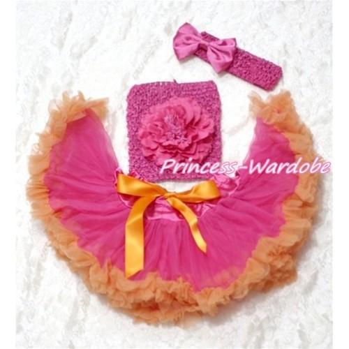 Hot Pink Orange Baby Pettiskirt, Hot Pink Peony Hot Pink Crochet Tube Top, Hot PInk Bow Headband 3PC Set CT111