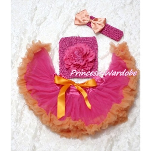 Hot Pink Orange Baby Pettiskirt, Hot Pink Peony Hot Pink Crochet Tube Top, Hot Pink Headband Orange Bow 3PC Set CT113