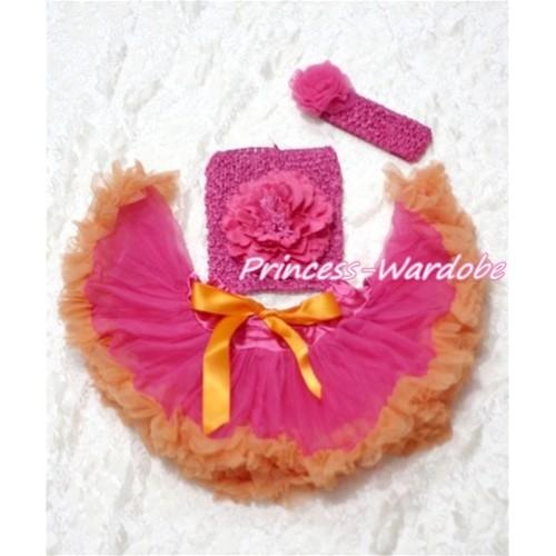 Hot Pink Orange Baby Pettiskirt, Hot Pink Peony Hot Pink Crochet Tube Top, Hot PInk Rose Headband 3PC Set CT112