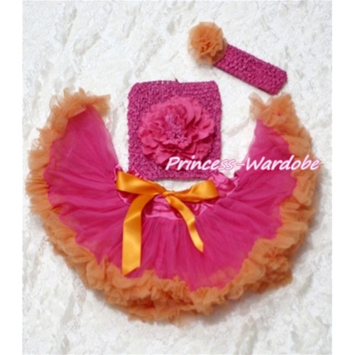 Hot Pink Orange Baby Pettiskirt, Hot Pink Peony Hot Pink Crochet Tube Top, Hot PInk Headband Orange Rose 3PC Set CT114
