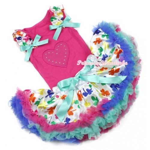 Hot Pink Baby Pettitop With Hot Pink Heart Print with Saint Patrick's Day Ruffles & Aqua Blue Bow with Saint Patrick's Day Baby Pettiskirt NG1203