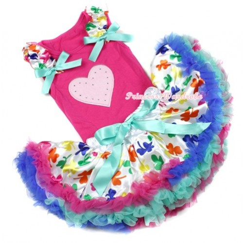 Hot Pink Baby Pettitop With Light Pink Heart Print with Saint Patrick's Day Ruffles & Aqua Blue Bow with Saint Patrick's Day Baby Pettiskirt NG1204