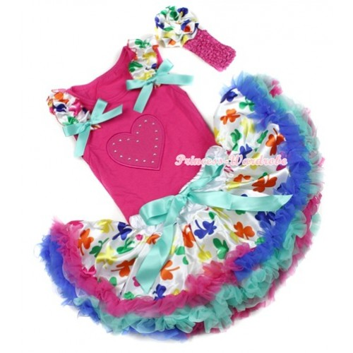 Hot Pink Baby Pettitop with Hot Pink Heart Print with Saint Patrick's Day Ruffles & Aqua Blue Bows & Saint Patrick's Day Newborn Pettiskirt With Hot Pink Headband Saint Patrick's Day Rose NG1208