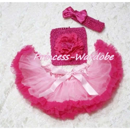 Light Hot Pink Baby Pettiskirt, Hot Pink Peony Hot Pink Crochet Tube Top, Hot Pink Bow Headband 3PC Set CT119
