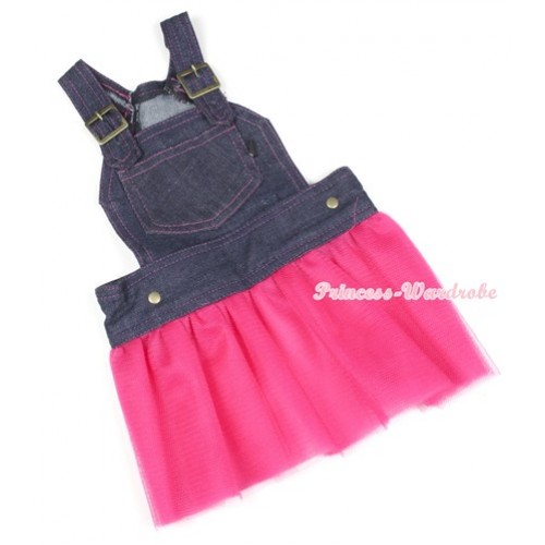 Dark Blue Denim Overall Hot Pink Gauze Skirt Pet Dress DC003