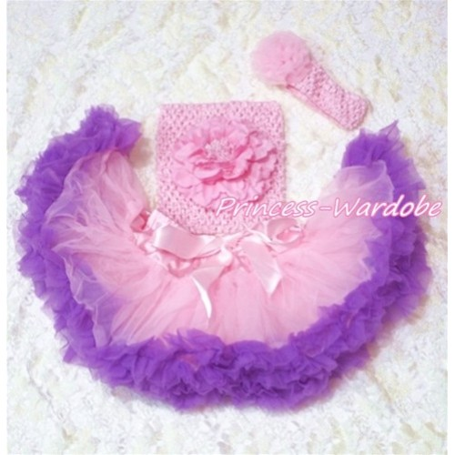 Light Pink Purple Baby Pettiskirt, Pink Peony Pink Crochet Tube Top, Pink Rose Headband 3PC Set CT134