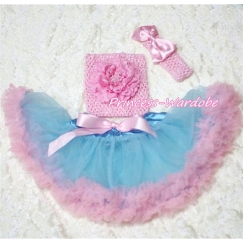 Blue Pink Baby Pettiskirt, Pink Peony Pink Crochet Tube Top, Pink Bow Headband 3PC Set CT135
