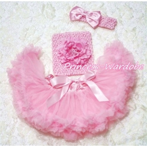 Light Pink Baby Pettiskirt, Pink Peony Pink Crochet Tube Top, Pink Bow Headband 3PC Set CT150