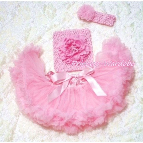 Light Pink Baby Pettiskirt, Pink Peony Pink Crochet Tube Top, Pink Rose Headband 3PC Set CT151