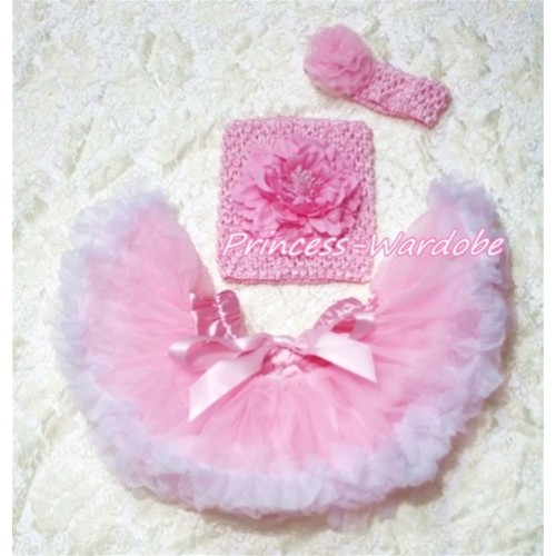 Pink White Baby Pettiskirt, Pink Peony Pink Crochet Tube Top, Pink Rose Headband 3PC Set CT153