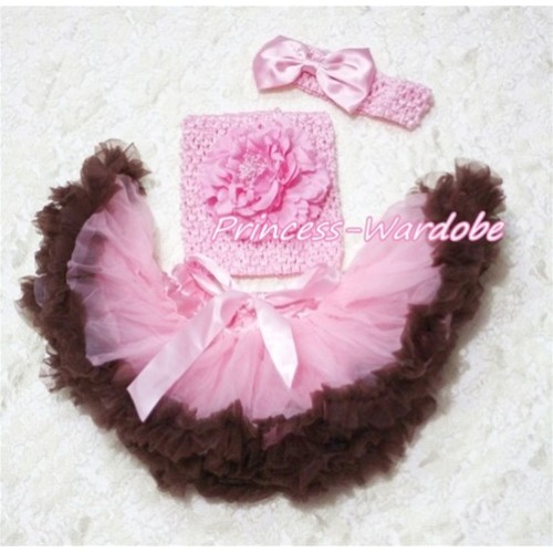 Pink Brown Baby Pettiskirt, Pink Peony Pink Crochet Tube Top, Pink Bow Headband 3PC Set CT154