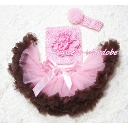 Pink Brown Baby Pettiskirt, Pink Peony Pink Crochet Tube Top, Pink Rose Headband 3PC Set CT155