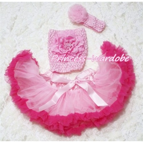 Light Hot Pink Baby Pettiskirt, Pink Peony Pink Crochet Tube Top, Pink Rose Headband 3PC Set CT157