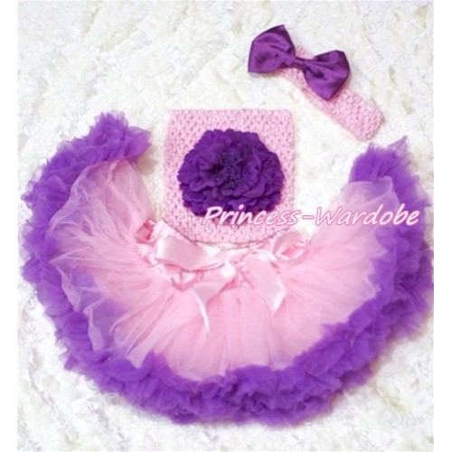 Light Pink Purple Baby Pettiskirt, Purple Peony Pink Crochet Tube Top, Pink Headband Purple Bow 3PC Set CT158