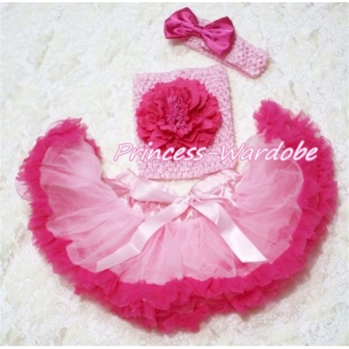 Light Hot Pink Baby Pettiskirt, Hot Pink Peony Pink Crochet Tube Top, Pink Headband Hot PInk Bow 3PC Set CT163