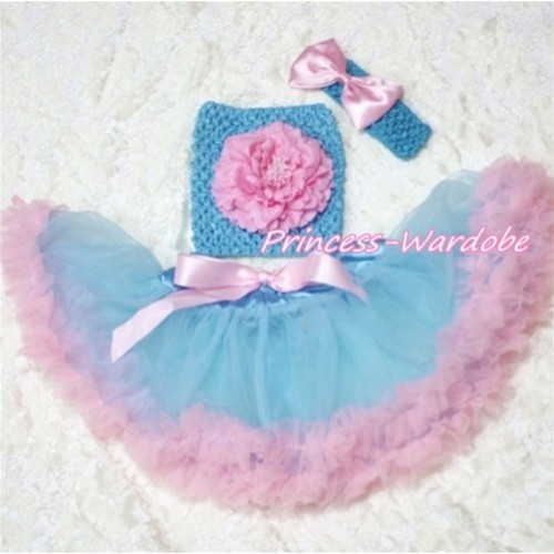 Blue Pink Baby Pettiskirt, Pink Peony Blue Crochet Tube Top, Blue Headband Pink Bow 3PC Set CT167